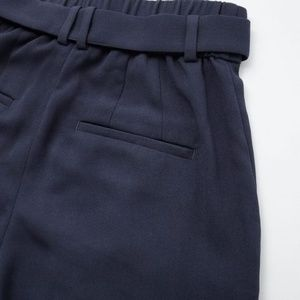 Uniqlo Pants - Uniqlo High Waist Ribbon Wide Leg Pants in Navy